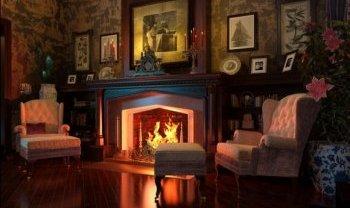Интерьер комната с камином
